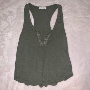 Racerback tank top with clasp front